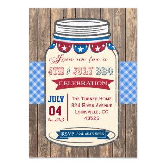 4TH OF JULY Mason Jar BBQ Old Barn Invitation