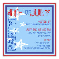 4th of July Modern Stars Party Invitation
