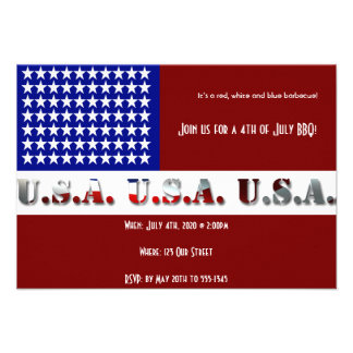 4th of July Modern USA Flag Graphic Personalized Announcement