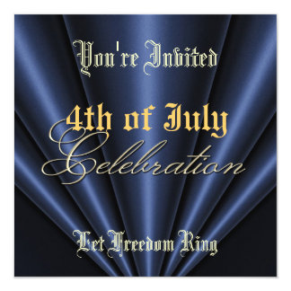 4th of July Navy Pleats Gold Party Invitation