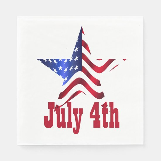 4th of July One Star with USA Flag Paper Napkins