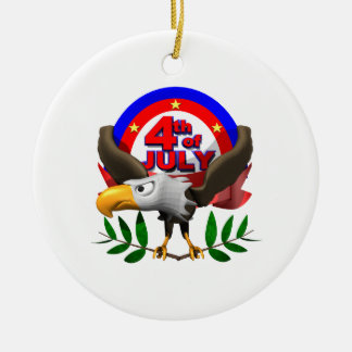 4th Of July Double-Sided Ceramic Round Christmas Ornament