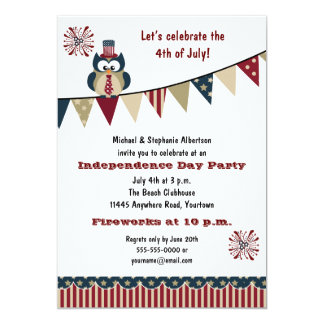 4th of July Owl Party 5x7 Paper Invitation Card