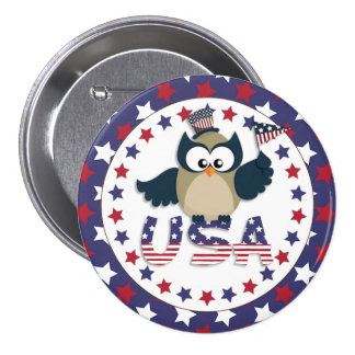4th of July Owl with American Flag Pinback Button