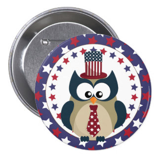 4th of July Owl with Stars Pinback Button