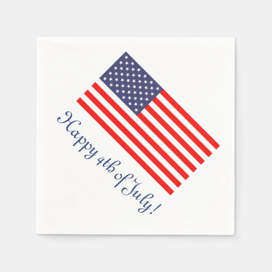 4th Of July Paper Napkins With American Flag