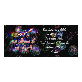 4th of July Party 4x9.25 Paper Invitation Card