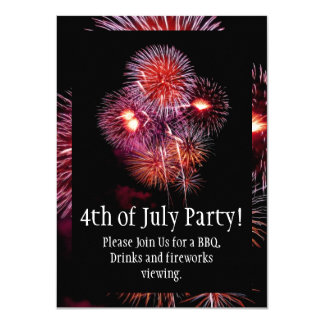 4th of July Party/BBQ Black Bright Fireworks Card