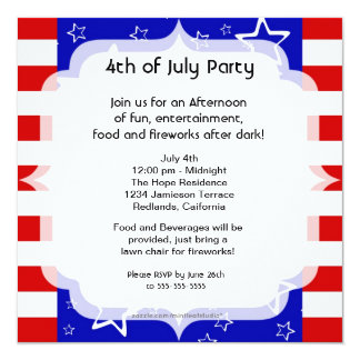 4th of July Party / Bbq Invitation Red White Blue