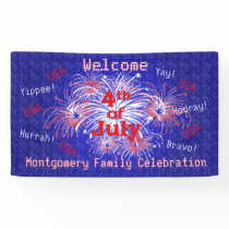 4th of July Party Fireworks Welcome Banner
