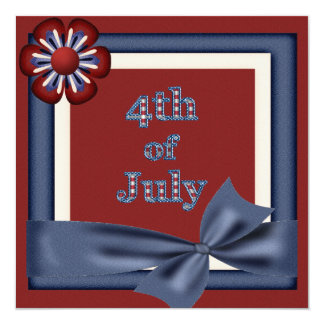 4th of July Party Flower Frame Invites