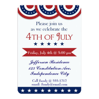 4th of July party invitation customizable at Zazzle