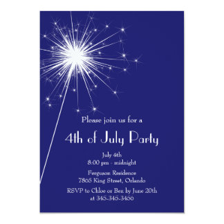 """4th of July Party Invitation with Sparklers 5"""" X 7"""" Invitation Card"""