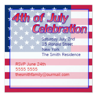 4th of July Party Invitations Red White and Blue