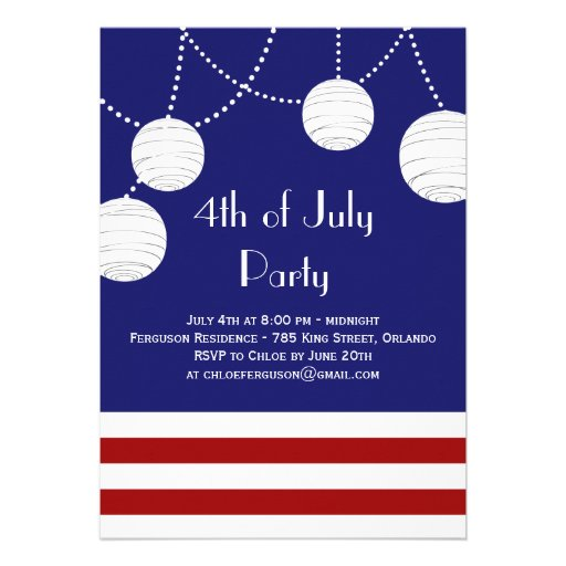 4th of July Party Lanterns Invitation