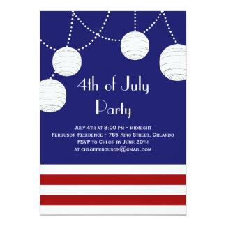 "4th of July Party Lanterns Invitation 5"" X 7"" Invitation Card"