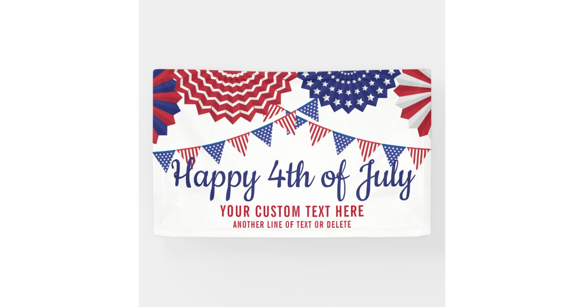 4th of July Party Parade Red White Blue Custom Banner | Zazzle com