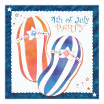 "4th of July Party Patriotic Flip Flops Invitations 5.25"" Square Invitation Card"