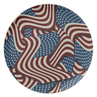 4TH Of July Party Red White And Blue American Flag Dinner Plate