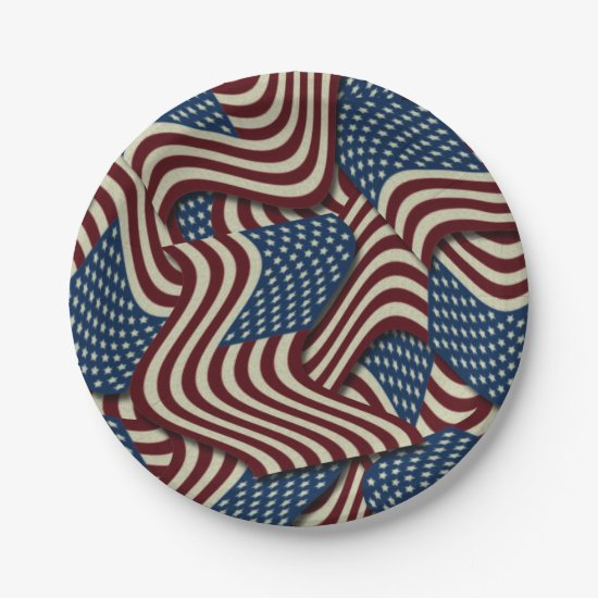 4TH Of July Party Red White And Blue American Flag Paper Plate