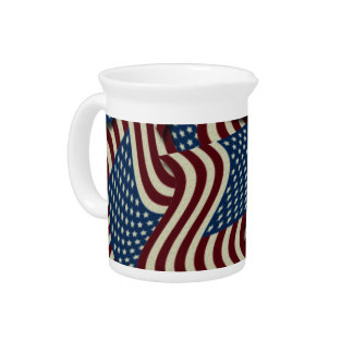 4TH Of July Party Red White And Blue American Flag Beverage Pitcher