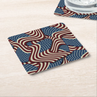 4TH Of July Party Red White And Blue American Flag Square Paper Coaster
