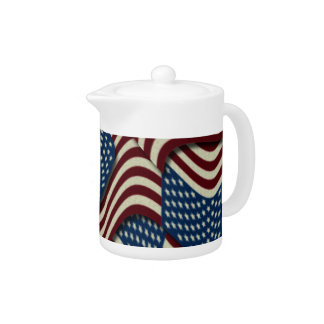 4TH Of July Party Red White And Blue American Flag Teapot