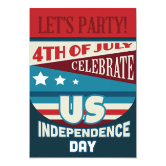 4th of July Party Stars and Stripes Typography Card