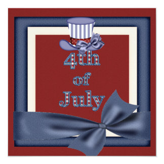 4th of July Party Uncle Sam Hat Invites
