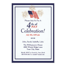4th Of July Party USA Flag Gold Fireworks Classic Card