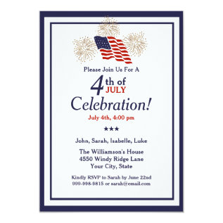 4th Of July Party Usa Flag Gold Fireworks Classic Card at Zazzle