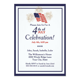 4th Of July Party USA Flag Gold Fireworks Classic Invitation
