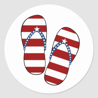 4th of July Patriotic American Flag Flip Flops Classic Round Sticker