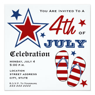 4th of July Patriotic American Flag Flip Flops 5.25x5.25 Square Paper Invitation Card