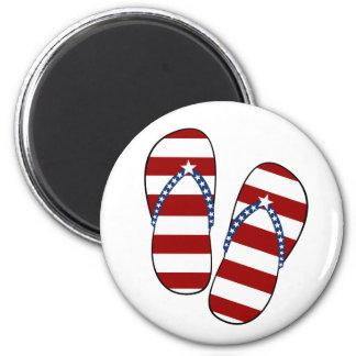 4th of July Patriotic American Flag Flip Flops Magnet