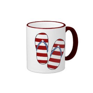 4th of July Patriotic American Flag Flip Flops Ringer Coffee Mug