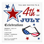 4th of July Patriotic American Flag Sunglasses Personalized Invite