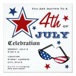 "4th of July Patriotic American Flag Sunglasses 5.25"" Square Invitation Card"