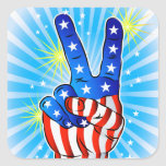 4th of July - Patriotic American-Victory & Peace Square Sticker