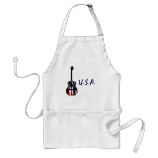 4th of July Patriotic Flag Guitar Adult Apron