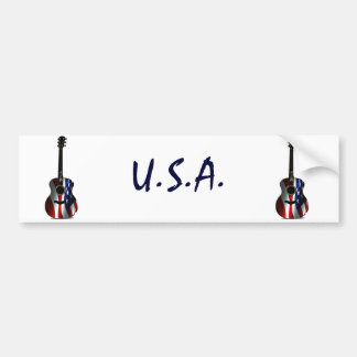 4th of July Patriotic Flag Guitar Bumper Stickers
