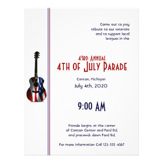 4th of July Patriotic Flag Guitar Flyer
