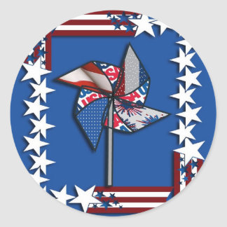 4th of July, Patriotic Pin Wheel Classic Round Sticker