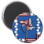 4th of July, Patriotic Pin Wheel Refrigerator Magnets