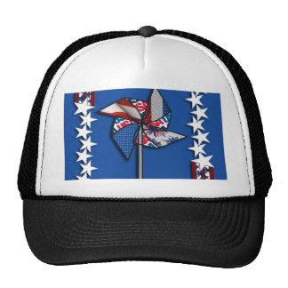4th of July, Patriotic Pin Wheel Mesh Hat