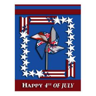 4th of July, Patriotic Pin Wheel Postcard