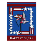 4th of July, Patriotic Pin Wheel Postcards