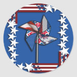 4th of July, Patriotic Pin Wheel Stickers