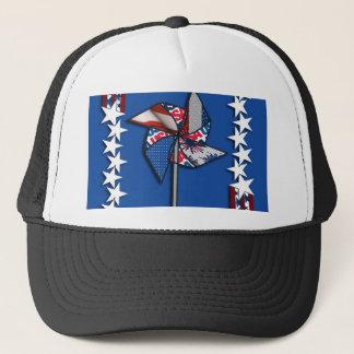 4th of July, Patriotic Pin Wheel Trucker Hat