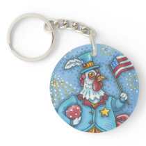 4TH OF JULY, PATRIOTIC ROOSTER, CHICKEN KEYCHAIN
